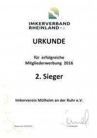 Urkunde Mitgliederwettbewerg 2016